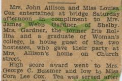 Mrs Gardner Honored at Bridge