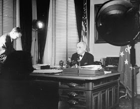 Ambassador Gardner Preparing Radio Address.1947